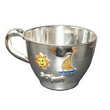 Серебряная чашка Парусник с эмалью