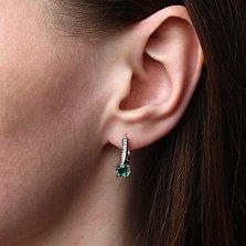 Серебряные серьги Флавия с зелёным кварцем и фианитами