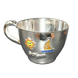 Серебряная чашка Парусник с эмалью 000043516