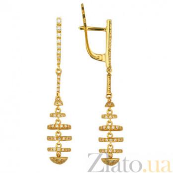 Золотые серьги с фианитами Гекуба VLT--ТТТ2214-1