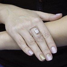 Серебряное кольцо Фентези с золотыми накладками и фианитом