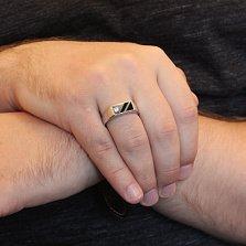 Серебряный перстень-печатка Рудольф с фианитом и эмалью