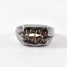 Кольцо из серебра Dr. Lecter с золотыми вставками и чернением