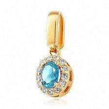 Золотой подвес Белинда с голубым топазом и фианитами