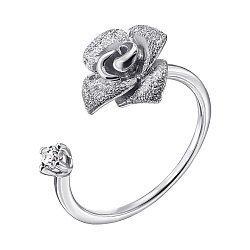 Разомкнутое кольцо из белого золота с цирконием 000138359