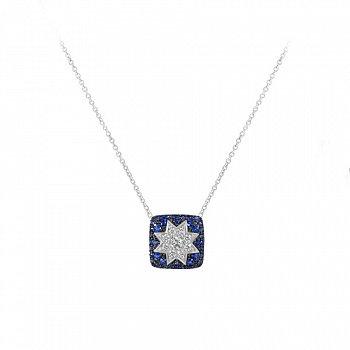 Кольє з білого золота Зірка ельфів з сапфірами і діамантами 000081281