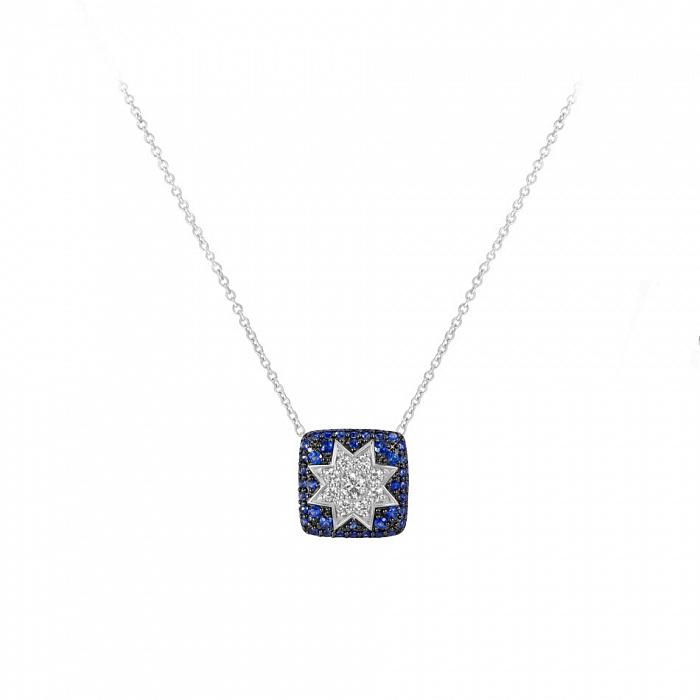 Колье из белого золота Звезда эльфов с сапфирами и бриллиантами 000081281