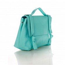 Кожаная деловая сумка Genuine Leather 6201 бирюзового цвета с молнией и клапаном на магнитной кнопке