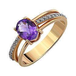 Кольцо из красного золота с аметистом и фианитами 000135201