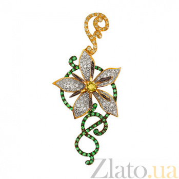 Золотая подвеска с фианитами Цветок VLT--ТТ3350-5