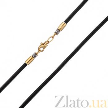Кожаный гладкий шнурок Оберег с серебряной черненой застежкой в евро позолоте 000013425