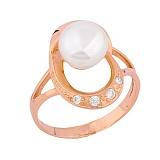 Золотое кольцо с жемчугом и фианитами Сидни