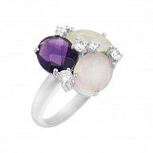 Серебряное кольцо Пруденс с аметистом, кварцем, розовым халцедоном и фианитами