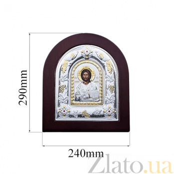 Серебряная икона Иисуса Христа в дереве с позолотой AQA-MA/E3107AX