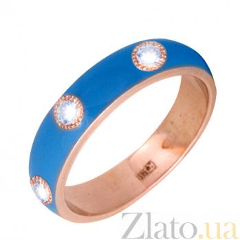 Золотое кольцо Пастель с фианитами и эмалью цвета синее небо К221кр/син