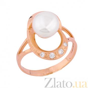 Золотое кольцо с жемчугом и фианитами Сидни ONX--к00495