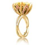 Кольцо из желтого золота Эдем: Чаша Изобилия с цитрином, сапфирами и бриллиантами