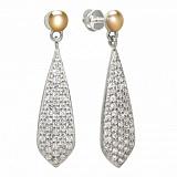 Серебряные серьги-подвески Ренессанс с золотыми вставками и фианитами