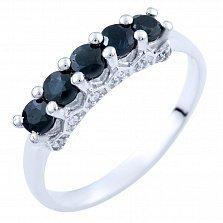 Серебряное кольцо Тришна с сапфирами и фианитами