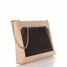 Кожаный клатч Genuine Leather 7808 бежевого цвета с черным накладным карманом и цепочкой