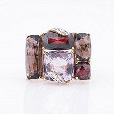 Золотое кольцо Престиж с аметистом, гранатами, раухтопазами и бриллиантами