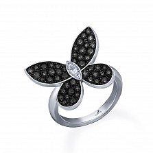 Серебряное кольцо Летний вечер с черными и белыми фианитами