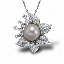Кулон из белого золота Ника с бриллиантами и жемчугом (пресноводным)