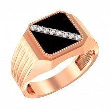Золотой перстень-печатка Кристофер с фианитами и черной эмалью