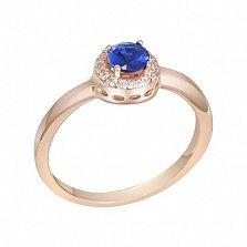 Кольцо в красном золоте Морской этюд с сапфиром и бриллиантами