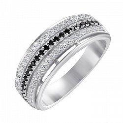 Серебряное кольцо Электра с черными и белыми фианитами