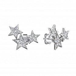 Серебряные серьги с фианитами 000135729