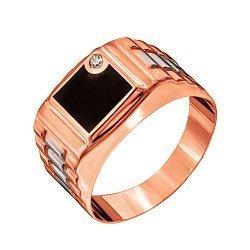 Золотой перстень-печатка Класт в красном цвете с черной эмалью и фианитом