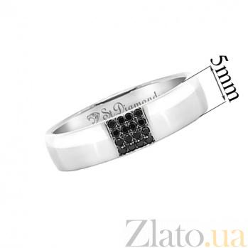 Золотое обручальное кольцо с черными бриллиантами Благосклонная любовь 32182st