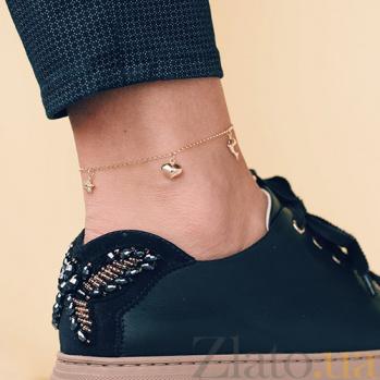 Золотой браслет на ногу Морские мотивы ONX--б01805
