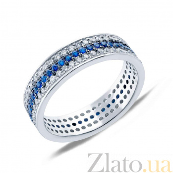 Серебряное кольцо с цирконами Северная река  AQA-JDR-212-3s