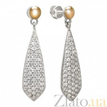Серебряные серьги-подвески Ренессанс с золотыми вставками и фианитами BGS--1032с