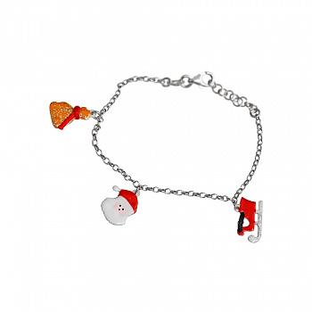 Браслет из серебра Новый год с цветной эмалью 000081509