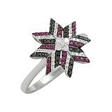 Золотое кольцо Заря с рубинами и бриллиантами