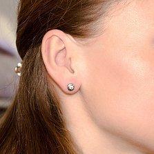 Серьги-пуссеты в белом золоте Naomi с бриллиантами