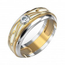 Золотое обручальное кольцо Фриволе в комбинированном цвете с бриллиантом и белой эмалью