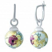 Серебряные серьги-подвески Сакура с цветной эмалью