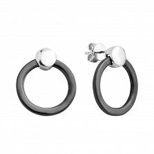 Серебряные серьги-пуссеты с черной керамикой 000131753