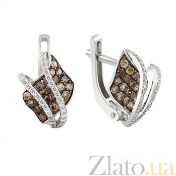 Серьги из белого золота с коньячными бриллиантами Десма KBL--С2494/бел/коньяк