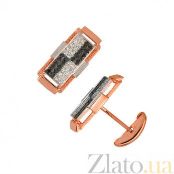 Запонки из красного золота с черными и белыми фианитами Джаз VLT--Е913