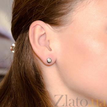 Серьги-пуссеты с бриллиантами Naomi E 0688/бел