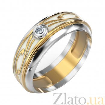 Золотое обручальное кольцо Фриволе в комбинированном цвете с бриллиантом и белой эмалью VLA--15230