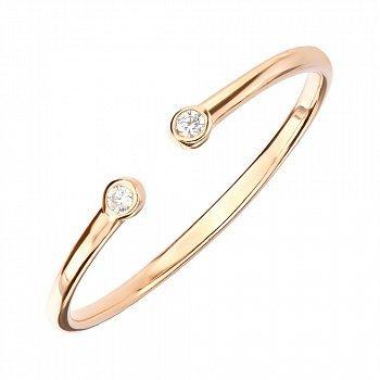 Разомкнутое кольцо из красного золота с фианитами 000141430