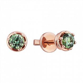 Пуссеты из красного золота с зелеными кристаллами Swarovski 000133794