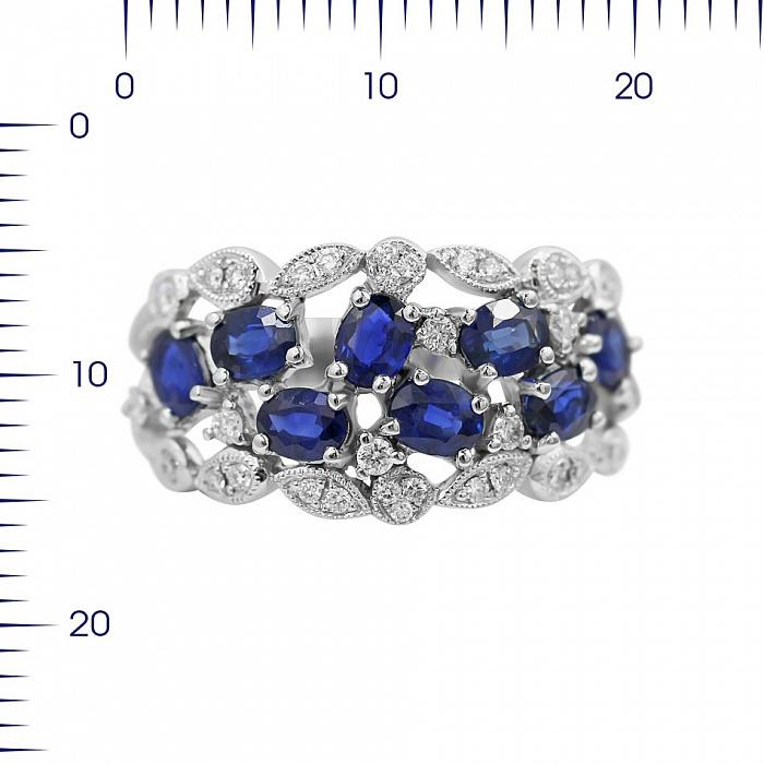 Кольцо из белого золота Адела с сапфирами и бриллиантами 000080941