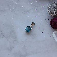 Серебряный подвес Ледяной кристалл с кварцем под лондон топаз и цирконием